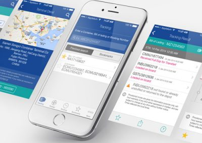 Webdesign d'application mobile CMA-CGM